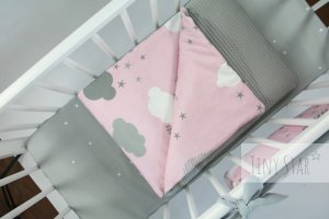 Kocyk Cotton-waffel 75x100 Grey & Rosy Puffs