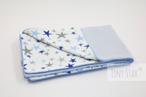Kocyk Cotton-waffel LIGHT 75x100 Blue Stars & Baby Blue