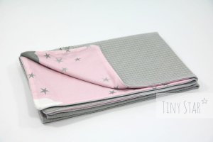 Kocyk Cotton-waffel LIGHT 75x100 Grey & Rosy Puffs
