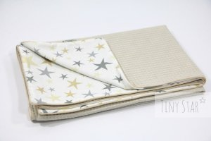Kocyk Cotton-waffel LIGHT 75x100 Beige & Golden Dust